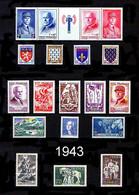 FRANCE - Année Complète 1943 - N° 568 à 598 - Neufs N** - Très Beaux - 1940-1949