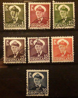 GRONLAND GROENLAND GREENLAND 1950 FREDERIK IX,  7 Timbres , Yvert 19 / 23 A ,obl  TTB - Used Stamps