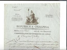 REPUBBLICA CISALPINA  Mantova 20 Frimale Anno X  ( 11.12.1801 ) Mincio - Historische Documenten