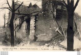 SOUAIN  MILITARIA GUERRE 1914-18  Eglise De Souain Bombardée- Vue Derrière  ..... - Weltkrieg 1914-18
