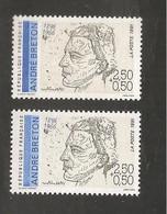 France, 2682a, 2682, Variété : Bleu Foncé ABSENT, Neuf **, TTB, André Breton, Poète - Varietà: 1990-99 Nuovi