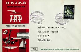 1961 Primeiro Voo Tap Portugal Lisboa-Beira - Briefe U. Dokumente