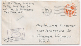WW2 - 1945 FEB 15 - APO 110 VALENCIENNES US ARMY POSTAL OFFICE Sur 6c Air Mail Stationery CENSORED EXAMINER 18343 - 2. Weltkrieg