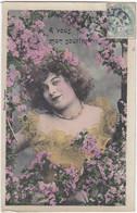 D3041 JEUNE FEMME - ROBE JAUNE / DENTELLE - FLEURS ROSES - A VOUS MON SOURIRE - EDITION BERGERET - Femmes