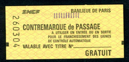 SNCF - RER - 2ème Classe - Contre-marque De Passage Avec Repères Noirs - GRATUIT - Banlieue De Paris - Europe