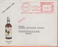 ITALIA - ITALY - ITALIE - 1961 - 15 EMA,Red Cancel - Augusto Sposetti - Fundador 1874 - Busta + Fattura Commerciale - Vi - Machine Stamps (ATM)