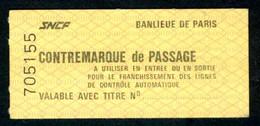 SNCF - RER - 2ème Classe - Contre-marque De Passage Sans Repères Noirs - Banlieue De Paris - Europe