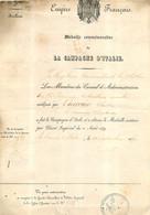 MEDAILLE COMMEMORATIVE DE LA CAMPAGNE D'ITALIE EMPIRE FRANCAIS 1859 CANONNIER COURROIE CLAUDE 27 X 19 CM - Documents