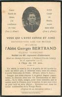 MEMENTO ABBE GEORGES BERTRAND MORT A FICHEUX LE 25 SEPTEMBRE 1915  RGT 66e INFANTERIE - Décès