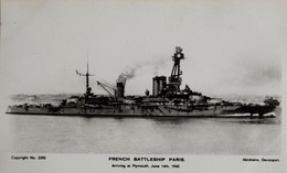 """Cuirassé Français """"Paris"""" Arrivant à Plymouth Le 14 Juin 1940 - Krieg"""