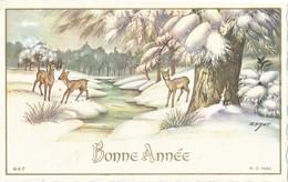 Petite Carte (8 Cm X 12,5 Cm) - Bonne Année - Paysage De Neige, Biches - (M. D. 947) - New Year