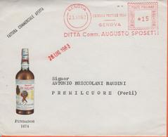 ITALIA - ITALY - ITALIE - 1963 - 15 EMA,Red Cancel - Augusto Sposetti - Fundador 1874 - Busta + Fattura Commerciale Con - Machine Stamps (ATM)