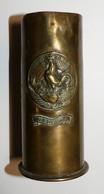 Artisanat De Tranchée Petite Douille Verdun 1914 1918 Avec Coq Sur Casque à Pointe - 1914-18