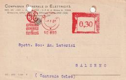 A25. Milano. 1928. Annullo Meccanico Rosso COMPAGNIA GENERALE DI ELETTRICITA' - Machine Stamps (ATM)
