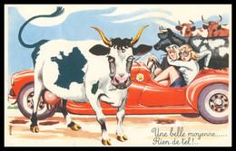 """Fantaisie - Humour - """" Une Belle Moyenne ... Rien De Tel ! ... """" - Couple Dans Un Bolide - Vache - Marguerite - Humor"""