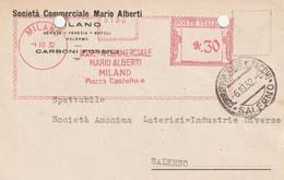 A25. Milano. 1932.  Affrancatura Meccanica Rossa SOCIETA' COMMERCIALE MARIO ALBERTI .30 - Machine Stamps (ATM)