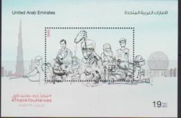 "UAE, 2020, MNH, COVID 19, ""THANK YOU HEROES"", FIREFIGHTERS, POLICE, DOCTORS, NURSES,S/SHEET - Otros"