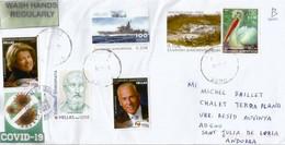 Belle Lettre De Grèce Envoyée Andorra Pendant Epidémie Covid19, Avec Vignettes Locales Prevention Coronavirus - Cartas