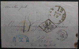 Belle Lettre :  De LA HAVANE - Voie De NEW YORK (cachet NY) - Destination PARIS (ambulant Calais à Paris) / STEAMER - 1849-1876: Klassieke Periode