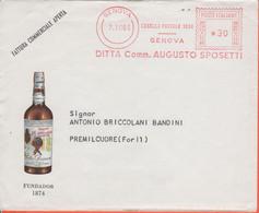ITALIA - ITALY - ITALIE - 1966 - 30 EMA,Red Cancel - Augusto Sposetti - Fundador 1874 - Busta + Fattura Commerciale Con - Machine Stamps (ATM)