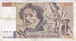 BILLETE DE FRANCIA DE 100 FRANCS DEL AÑO 1986 DE DELACROIX SERIE Z (BANKNOTE) - 100 F 1978-1995 ''Delacroix''