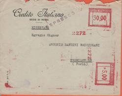 ITALIA - ITALY - ITALIE - 1947 - 30.00 + 5.00 EMA,Red Cancel + Ambulante Roma-Ancona Sul Retro - Banca Credito Italiano - Machine Stamps (ATM)