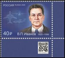 RUSSIA 2020 Stamp MNH VF ** Mi 2937 IVANOV Aviation Electronics ENGINEER DESIGNER AIRPLANE AEROPLANE RADIO SPACE 2714 - Nuovi