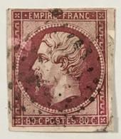 YT 17A (°) Obl 1853-60 Napoléon III 80c Carmin Clair LPC (côte 60 Euros) – Cata - 1853-1860 Napoleon III