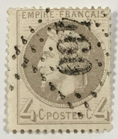 YT 27 (°) 1863-70 Napoléon III 4c Gris Bessé-sur-Braye Sarthe (90 + 6 Euros) – Ciel - 1863-1870 Napoleone III Con Gli Allori