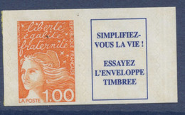 N° 16a Marianne De Luquet Auto Adhesif Faciale 1,00 F + Vignette - Luchtpost
