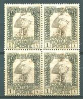 LIBIA 1921 PITTORICA 1 CENTESIMO  ** MNH QUARTINA - Libye