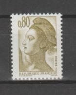 FRANCE / 1982 / Y&T N° 2241 ** : Liberté 80c Olive (1 Bande PHO à Droite) - Gomme Métropolitaine (= Brillante) X 1 - Neufs
