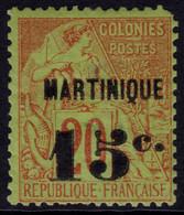 ✔️ Martinique 1888/1891 - Dubois Avec Surcharge - Yv. 16 * MH - €160 , Mise Une Dent - Unused Stamps