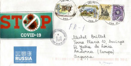 Stop Covid19, Vignette Locale Prevention Coronavirus Sur Lettre De Saint Petersburg, Adressée Andorra Avec Timbre à Date - Abarten & Kuriositäten