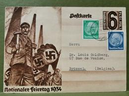 Postkarte, Deutsches Reich. Nationaler Feiertag 1934. Oblitéré - Enteros Postales