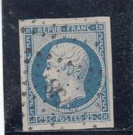 France - Année 1852 - N°YT 10 - 25c Bleu - Obl. Losange PC - 4 Belles Marges - Signé - 1852 Louis-Napoleon