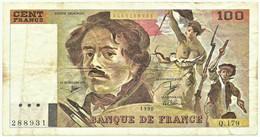 FRANCE - 100 Francs - 1990 - P 154.e - Serie Q.179 - EUGÈNE DELACROIX - 100 F 1978-1995 ''Delacroix''