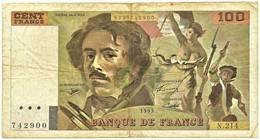 FRANCE - 100 Francs - 1993 - P 154.g - Serie N.214 - EUGÈNE DELACROIX - 100 F 1978-1995 ''Delacroix''