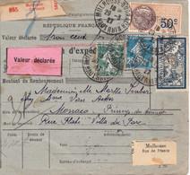 5F Merson Pré-perforé Sur Bulletin Colis Mulhouse-Dornach 1927 Avec VD 300F Pr Monaco Affranchi Entièrement Au Recto - Lettres & Documents