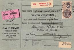 Bulletin Colis Tissus MEYER Mulhouse 1927 Avec VD 400F Pr Monaco - Lettres & Documents