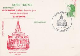 ENTIER GANDON REPIQUE 1 ER JOUR POINT PHILATELIE ISSOIRE PUY DE DOME 1986 - AK Mit Aufdruck (vor 1995)