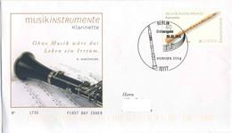 722  Europa CEPT 2014, Clarinette: Env. 1er Jour D'Allemagne - Clarinet FDC. Musik Instruments Europe - 2014