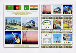 Turkmenistan 2018, Turkmenistan Afghanistan Pakistan India Tapi Gas Pipeline, MNH Sheetlet - Turkmenistan