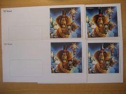 Österreich 2012- 4 Geschäftskuvert Mit Comicmarken- Puzzle Aus Block ANK 76, Je 1 Marke Ist Aufgeklebt 62, 62, 70, 90 Ct - Enteros Postales