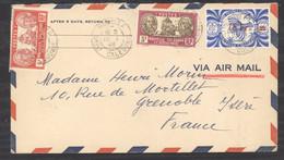 0le  001  -  Nouvelle Calédonie   :  Yv 154A + 158 + 256  (o) Sur Lettre Avion - Storia Postale