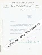 Lettre 1944 ORP-LE-GRAND - DUMOULIN & Cie - SUCRERIE D'ORP-LE-GRAND - Non Classés