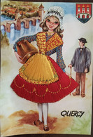 Cp Du Quercy (46 - Lot) Brodée, Folklore, Tenues Traditionnelles, Armoiries Et Pont Valentré, Cahors, éd Vacances - Sin Clasificación
