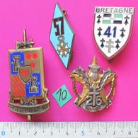 Lot N°10 / Infanterie = 4x Insignes : 32° RI,  26° RI, 41° RI Et 57° RI - Army