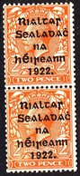 EIRE IRELAND 1922 2d Die I Bright Orange SG 29 Coil Pair One Mounted, One Unmounted - Unused Stamps