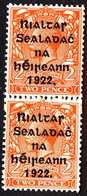 EIRE IRELAND 1922 2d Die II Bright Orange Coil Join SG 29a One Mounted, One Unmounted Mint - Unused Stamps